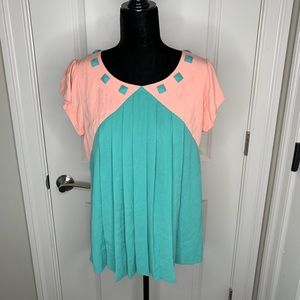 Marc by Marc Jacobs Pink and Green Pleated Blouse